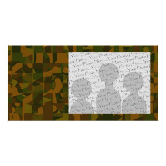 Green and Brown Camo, Abstract Pattern. Personalized Photo Card