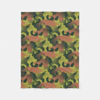 Green and Brown Camouflage Pattern Fleece Blanket