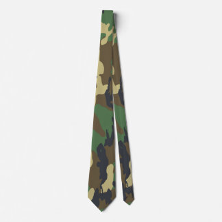 Green And Brown Camouflaged Pattern Tie