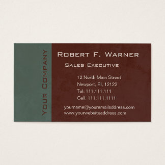 Green and Brown Earthtones Classic Elegant Business Card