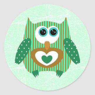 Green and Brown Owl Cute Adorable Stickers