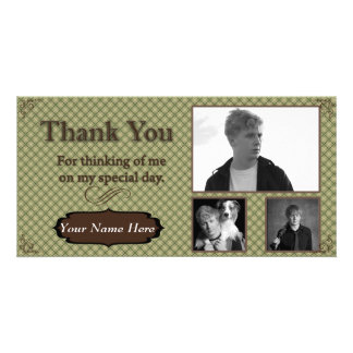 Green and Brown Plaid Photo Thank You Card Photo Cards