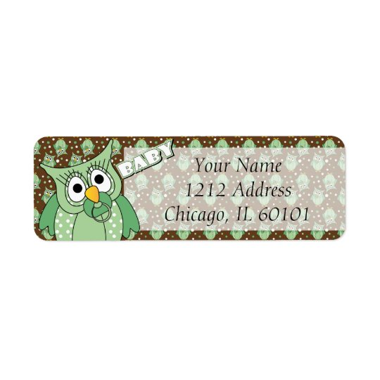 Green and Brown Polka Dot Owl Baby Shower Theme Return Address Label