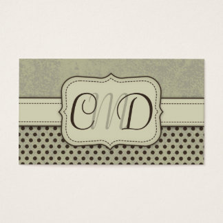 Green and Brown Polka Dots Monogram Business Cards
