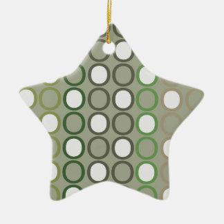 Green and Brown Splash of O's Ceramic Star Ornament