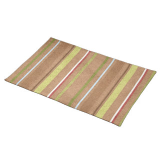 Green and Brown Striped American MoJo Placemat
