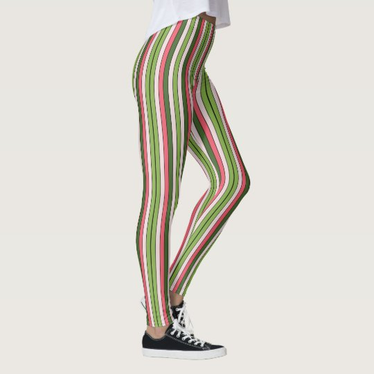 Green And Coral Pink Stripe Leggings