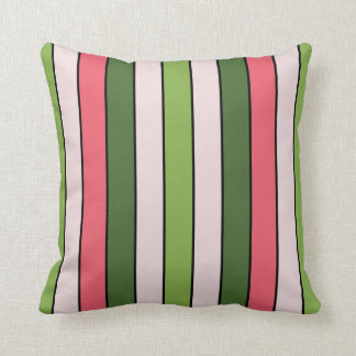 Green And Coral Pink Stripe Throw Pillow