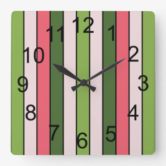 Green And Coral Pink Stripe Wall Clock