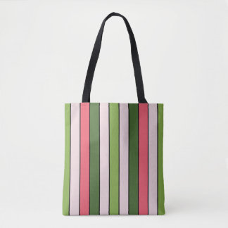 Green And Coral Stripe Pink Reusable Bag