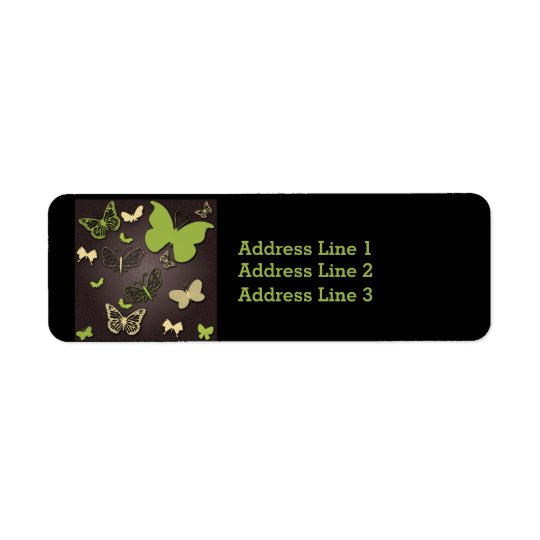 Green and Cream Butterflies on Brown Address Label