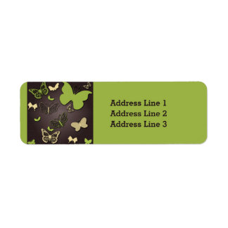 Green and Cream Butterflies on Green Address Label