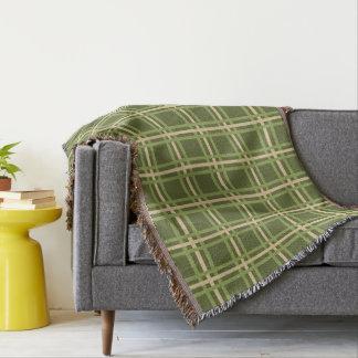 Green and Cream Plaid Stripes Throw Blanket