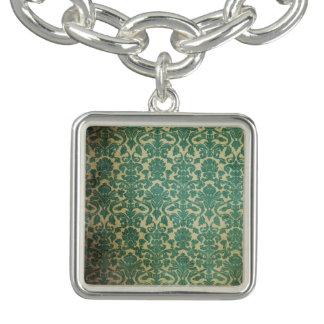 Green and Cream Vintage Charm/Bracelet Charm Bracelet