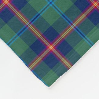Green and Dark Blue Clan Young Tartan Fleece Blanket