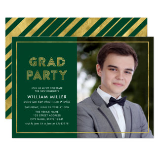 Green and Faux Gold Geometric Photo Grad Party Card
