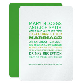 Green and Gold Classy Wedding Invite