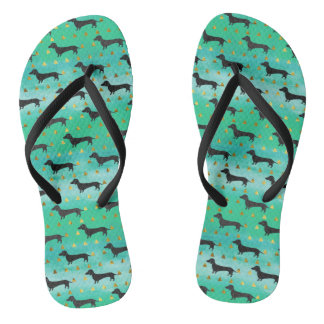 Green and Gold Dachshund Pattern Flip Flops