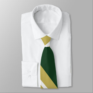 Green and Gold Diagonally Striped Tie