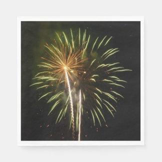 Green and Gold Fireworks Holiday Celebration Paper Napkins