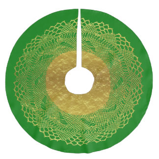 Green and Gold Foil Lace Doily Tree Skirt