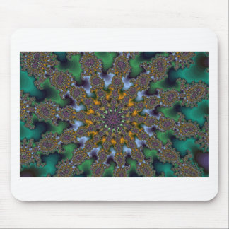 Green and Gold Fractal Burst Mouse Pad