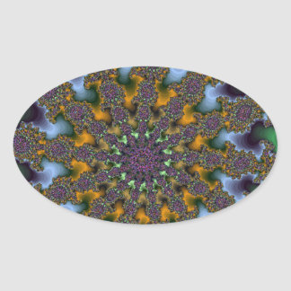 Green and Gold Fractal Burst Oval Sticker