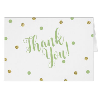 Green and Gold Glitter Thank You Cards