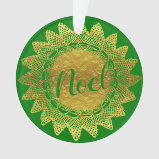 Green and Gold Lace Doily Noel Ornament