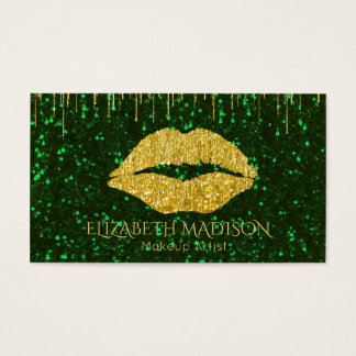 Green and Gold Makeup Artist Glitter Lips Business Card