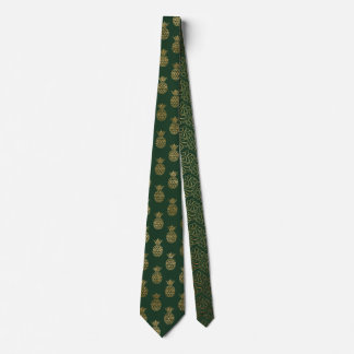 Green and Gold Pineapple Christmas Tie