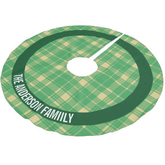 Green and Gold Plaid Personalized Brushed Polyester Tree Skirt