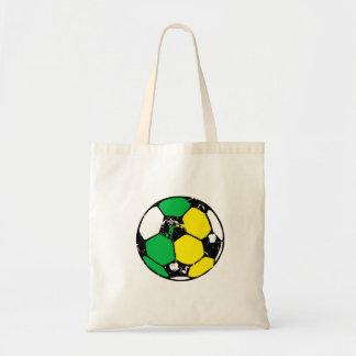 Green and gold soccer ball tote bag