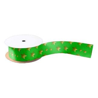 Green and gold stars Satin Ribbon