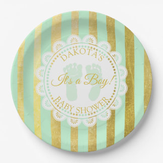Green and Gold Striped Personalized Shower Plate