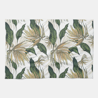 Green and Gold  Tropical Leaves Kitchen Towel