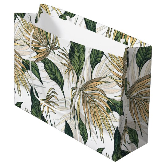 Green and Gold  Tropical Leaves Large Gift Bag