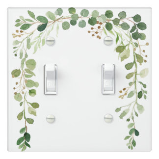 Green and Golden Brown Leaves Cascade | Light Switch Cover