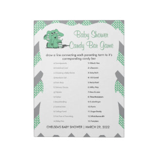 Green and Gray Chevron Elephant Baby Shower Game 2 Notepad
