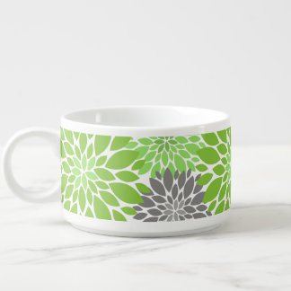 Green and Gray Chrysanthemums Floral Pattern Bowl