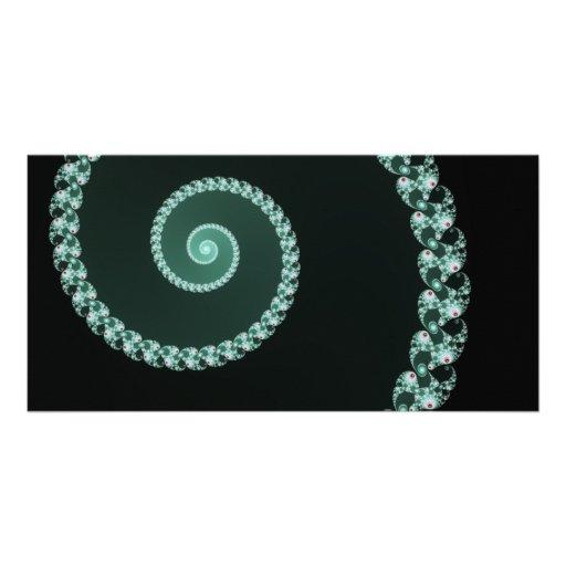 Green and Gray Fractal Spiral Custom Photo Card