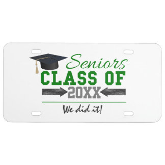Green and  Gray Graduation Gear License Plate