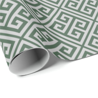 Green And Gray Greek Key Wrapping Paper