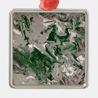 Green and Gray Marble Metal Ornament