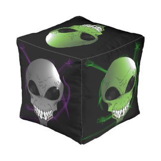 Green and grey alien custom cubed pouf