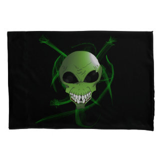 Green and Grey alien Custom Pair of Pillowcases