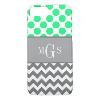 Green and Grey, Chevron, Polka Dots iPhone 7 case