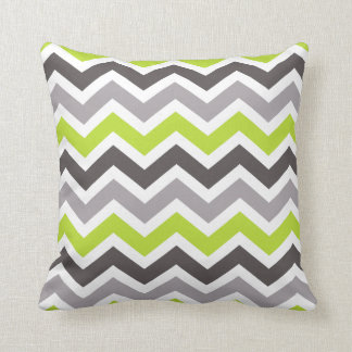 Green and Grey Chevron Throw Pillow