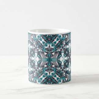 Green and Grey Kaleidoscope Pattern Coffee Mug