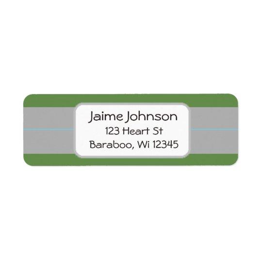 Green and grey  Return Address Sticker